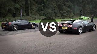 Bugatti Veyron Vs Ferrari 458 Italia Drag Race - DRAGINFO