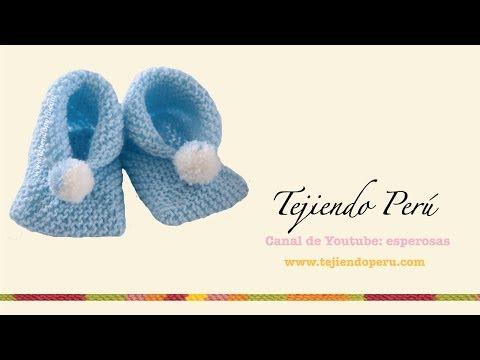 Dos agujas cómo tejer zapatitos para bebés de dos cuadrados