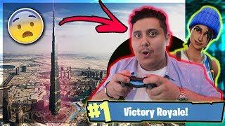 توبز يلعب فورت نايت في قمة برج خليفة !! ( شوفوا ردة فعل الناس !!! )