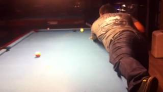 Busty pool player makes great shot