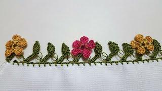 Çiçekli tığ oyası modeli