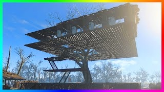 FALLOUT 4 BASE BUILDING GAMEPLAY - Creating A Giant Treehouse Settlement!! (Fallout 4 Gameplay)