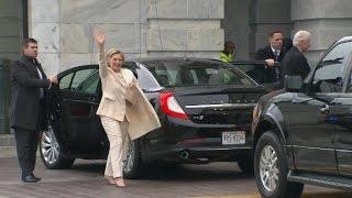 Hillary Clinton arrives at Trump inauguration