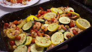 SHEET PAN SHRIMP & VEGETABLES WITH RICE|GERINE KATE JOHNSTON
