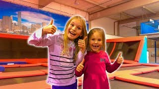 Amelia, Avelina and Akim having a fun adventure vlog in a trampoline bounce center