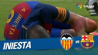 Iniesta se lesiona tras una entrada de Enzo Pérez