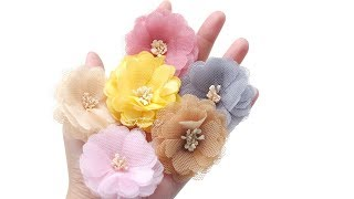 Organza Flower Tutorial - How to Make Tulle Flowers for Baby Headbands