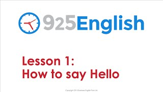 English Conversation Lesson - How to Greet People in English | 925 English Lesson 1