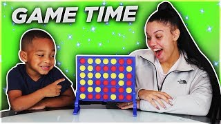 DJ and Mommy Play Connect 4 Board Games for Family Game Night!