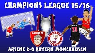 Arsenal 2-0 Bayern Munich (Champions League 2015/16 parody highlights and goals Ozil Giroud Costa)