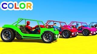 Learn Colors Fun Cars w Superheroes For Kids & Babies Bus Cartoon Animation Nursery Rhymes