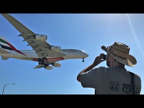 Plane Spotting LOS ANGELES LAX Heavy landings Take Offs ; In N Out Burger spot summer 2018