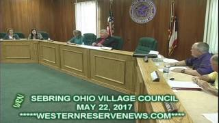 SEBRING VILLAGE COUNCIL MAY22 2017 LAST MOTION NOT ON AGENDA AND NEXT MEETING JUNE 26