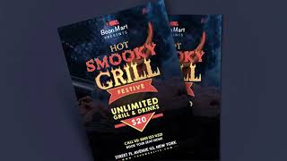 Photoshop Free Download – Grill and BBQ Flyer Template