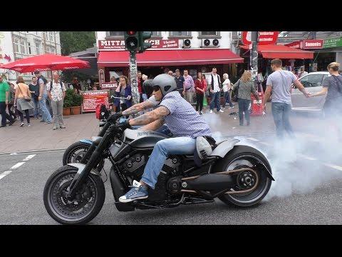3 Crazy Harley Davidson V Rods & Sportster BURNOUTS AND LOUD SOUNDS