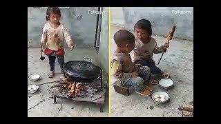 قمة الانسانية لطفلة صغيرة بماثبة الام لأخيها الصغير