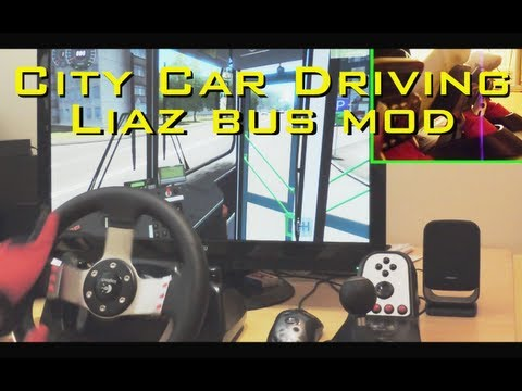 City Car Driving LiAZ BUS MOD simulator G27 pedals fully manual gearbox gameplay demonstration