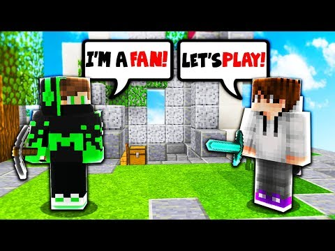 TEAMING WITH A FAN! (Minecraft Skywars)