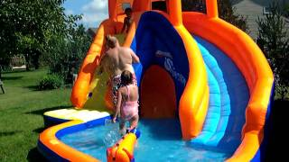 Kids playing on new Banzai SideWinder waterslide  8 2010