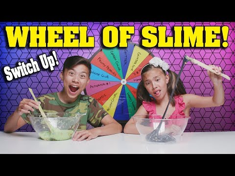 MYSTERY WHEEL OF SLIME CHALLENGE SWITCH UP Making Slime with Cereal and Popcorn