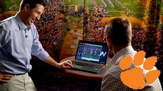 Dabo Swinney Watches Highlights of Playing Days at Alabama