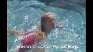 Melissa Reeves swimming on the set of Better Living