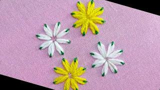 Lazy Daisy Double Colour Thread Flower Stitch|Hand Embroidery