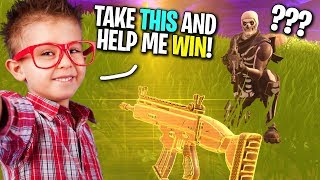 KID GIVES SKULL TROOPER HIS GOLDEN SCAR SO HE CAN WIN! (Fortnite Random Duos)