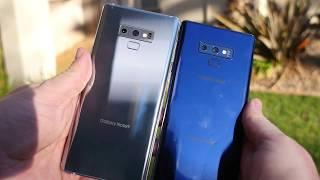 Samsung Galaxy Note 9 Ocean Blue vs Cloud Silver