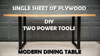 Modern Dining Table DIY | Single Sheet Plywood | Two Power Tools