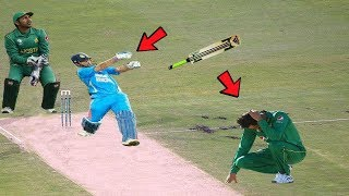 Top 8 Bats Slipped from Batsman's Hands   Cricket Bat Flying in the Air   Batsman losing the Bat