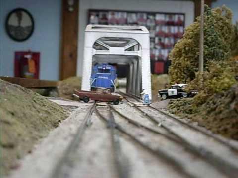 HO Conrail Train Hits Truck