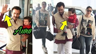Omg ! Taimur Ali Khan copies Dad Saif by waving hand to media |Too cute gesture 💜❤