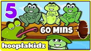 Five Little Speckled Frogs | Nursery Rhymes Collection | Rhymes for Kids by HooplaKidz | 60 Mins