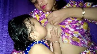 Breast Feeding Way In Bangladesh At Evening Cute Baby (Educational Video)