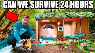 $10 SURVIVAL CHALLENGE IN THE WOODS (24 Hour Box Fort Survival)
