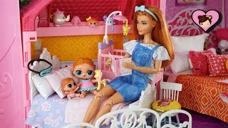 Barbie Doll Family LOL Surprise Baby Bedtime Night Routine -  Barbie Dollhouse & Grocery Shopping