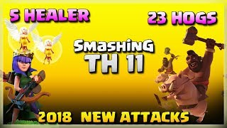 5 Healer+23 Hogs=Smashing TH11 | Top 3 Star Attack | TH11 War Strategy #165 | COC 2018 |