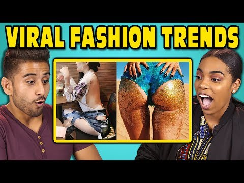 COLLEGE KIDS REACT TO VIRAL FASHION TRENDS Glitter Booty Clear Pants Mud Jeans
