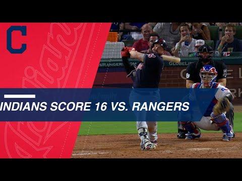 Indians score 16 runs against the Rangers