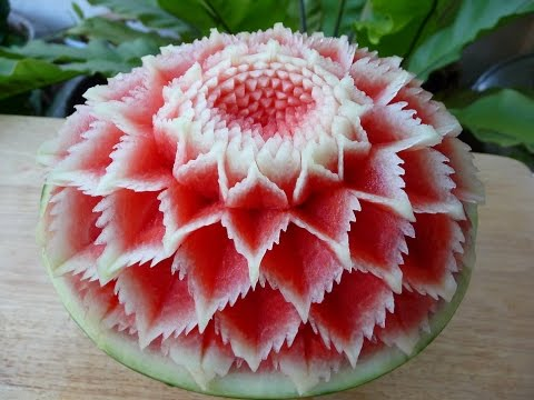 แกะสลัก แตงโม ลายผีเสื้อ 3 Watermelon carving 3 flower watermelon