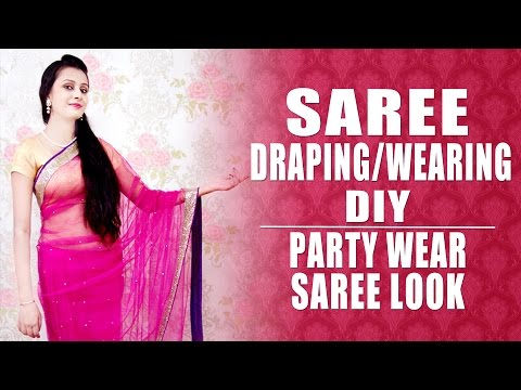 Saree Draping or Wearing - Party Wear Saree Look | KhoobSurati.com