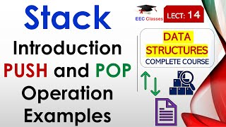 Stack Class 1 - PUSH Operation POP Operation with Example in Hindi/English
