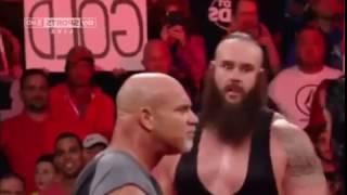 goldberg returns january 2nd 2017 RAW-Goldberg and Roman Reigns sphere Braun strowman together.