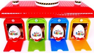 Learn Colors with Kinder Surprise Eggs and Garage Parking Playset for Children