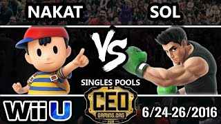 CEO 2016 Smash 4 - CLG | Nakat (Ness) Vs. Sol (Little Mac) SSB4 Tournament - Smash Wii U
