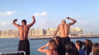 Chris brown jumping off the of a yacht! #dubai