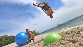 TRAMPOLINE TRICKS WITH MEGA BOUNCY BALL!