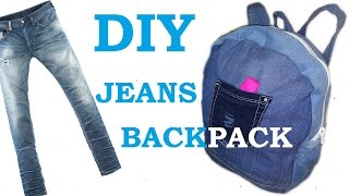 DIY - How to make Backpack (Knapsack) from old jeans