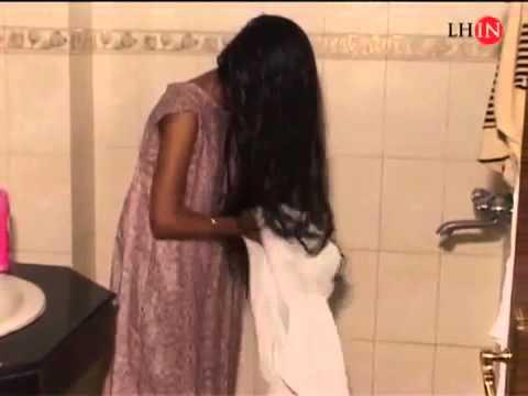 Long Hair Girl Washing and drying her hair